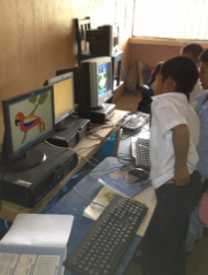 The Grade 4, 5 and 6 students use the computers too
