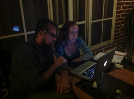 Emily the Casita Copan Director and Jessie, a board member meeting over Skype tonight