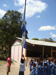 The raising of the flag and the national anthem